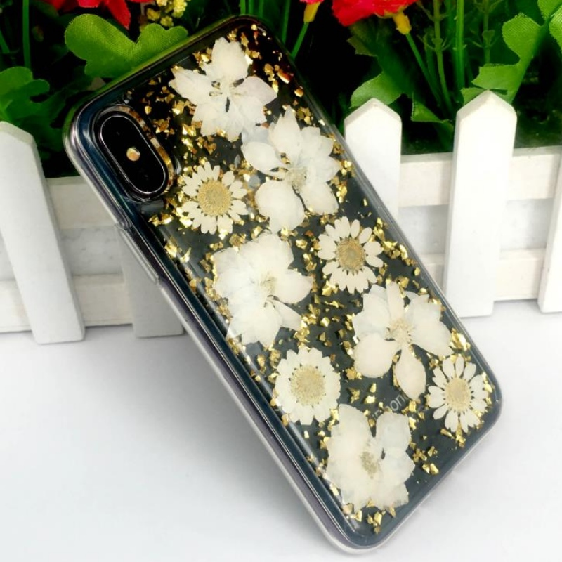 Manufacturer\'s direct iPhone with gold foil drop adhesive true flower dried flower embossed TPU apple transparent shatterproof case